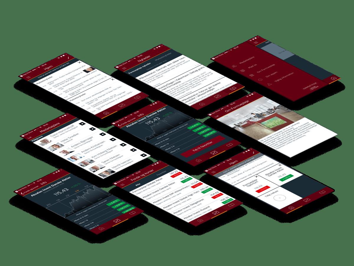 formuepleje app skærmbilleder case