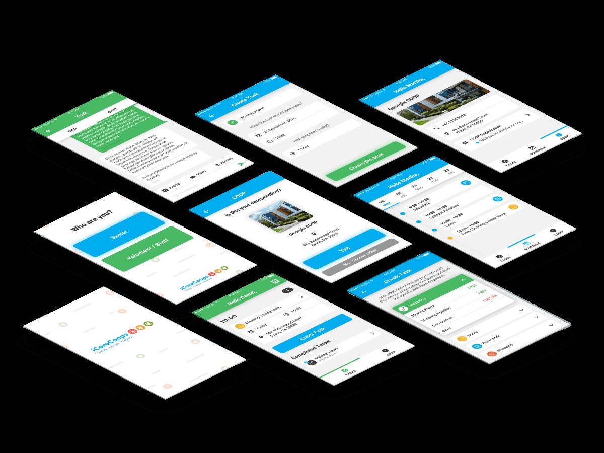 iCareCoops app skærmbilleder case