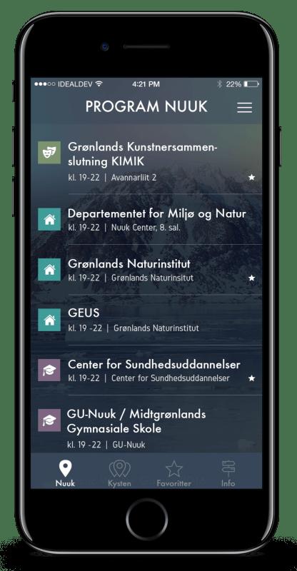 Kulturnat Grøndland app skærmbilleder