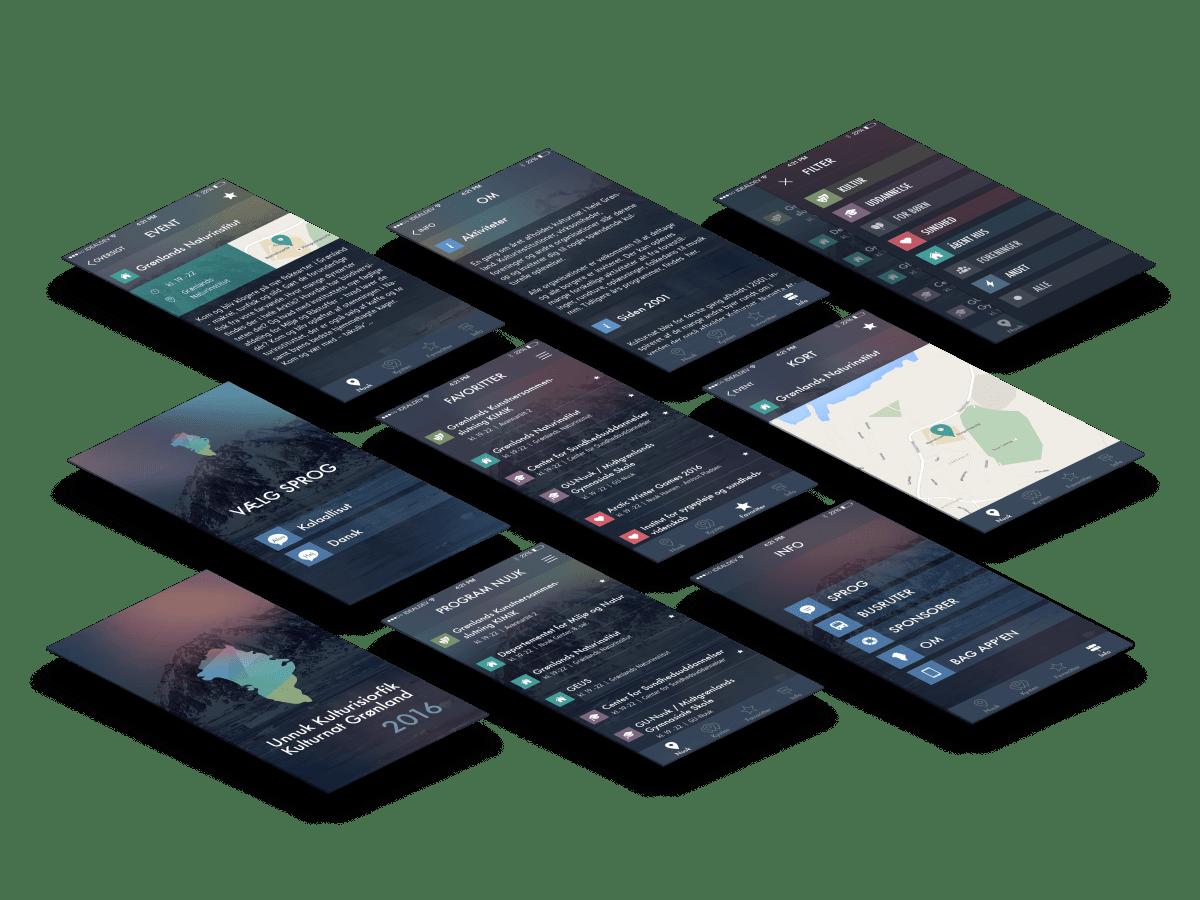 Kulturnat Grøndland app skærmbilleder case