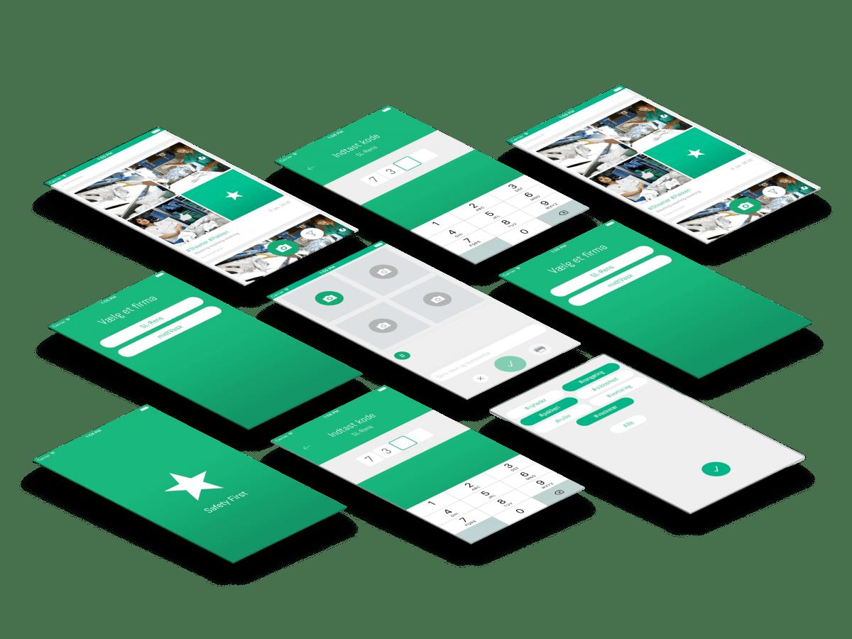 Safety first app skærmbilleder case