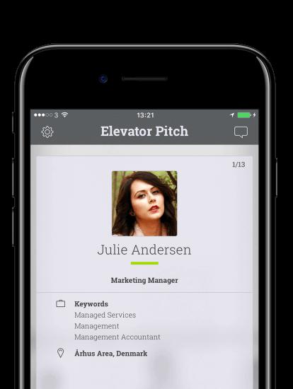Elevator pitch app skærmbillede