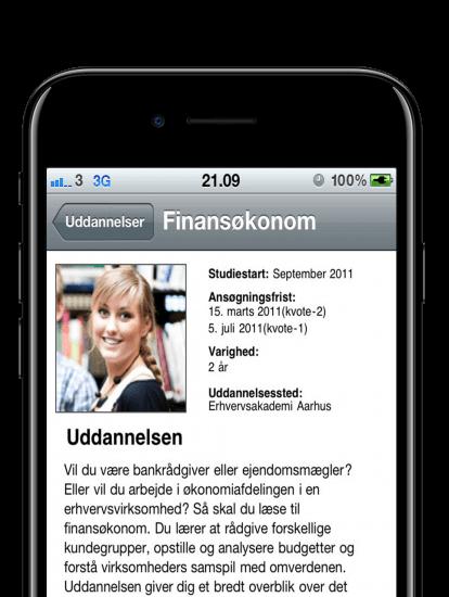 Erhvervsakademi aarhus app skærmbillede