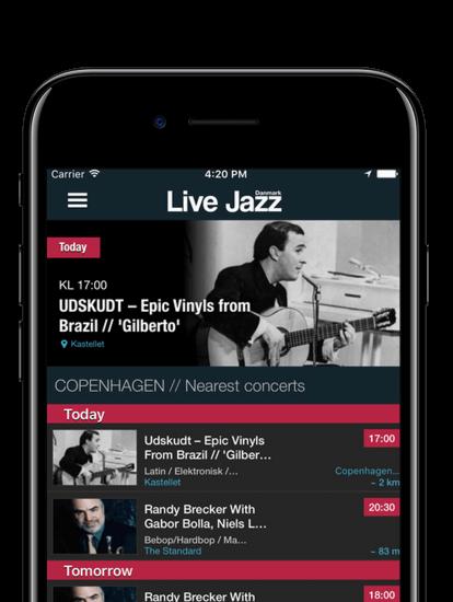 Live Jazz Denmark app skærmbillede