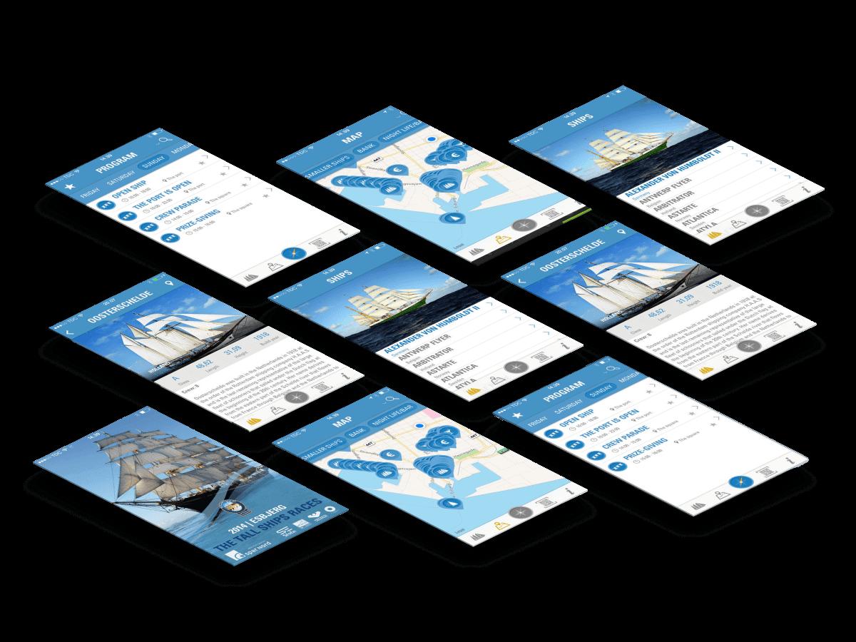 Tall Ships races app skærmbilleder case